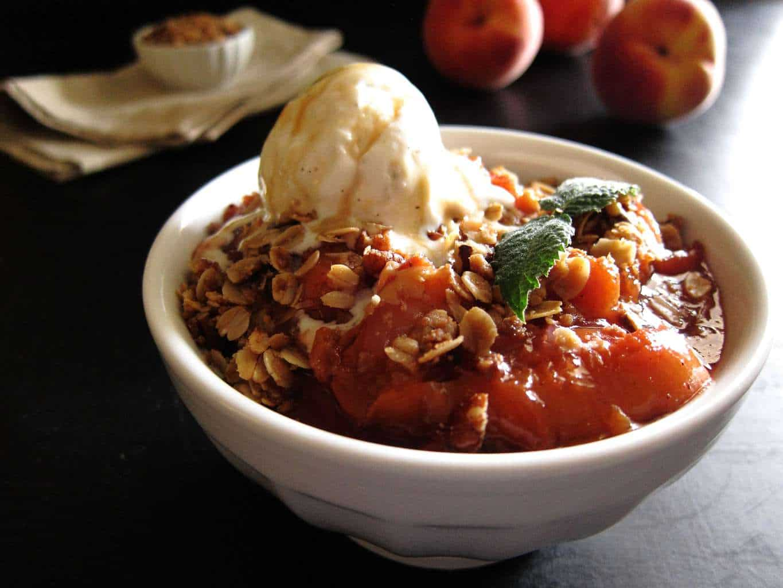 Instant Pot Peach Crisp with vanilla ice cream - Paint the Kitchen Red