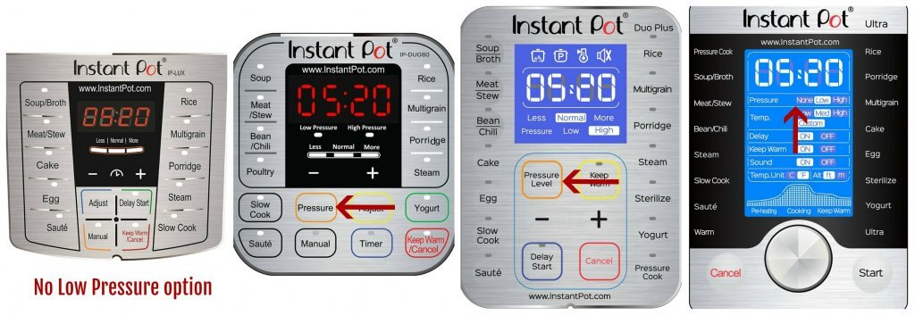 Collage of Instant pot panels low pressure - lux: no low pressure option, duo: arrow pointing to pressure, duo plus: arrow pointing to pressure level, ultra arrow pointing to pressure