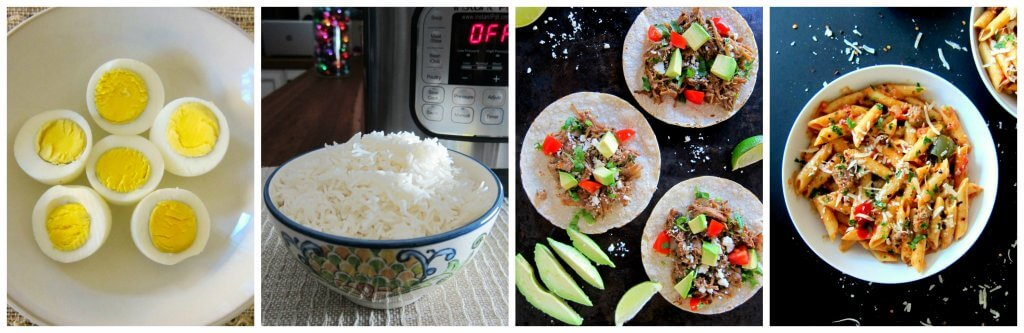 Instant Pot Tips - collage of boiled eggs, rice, carnitas, pasta