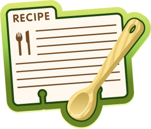 blank recipe card with a wooden spoon