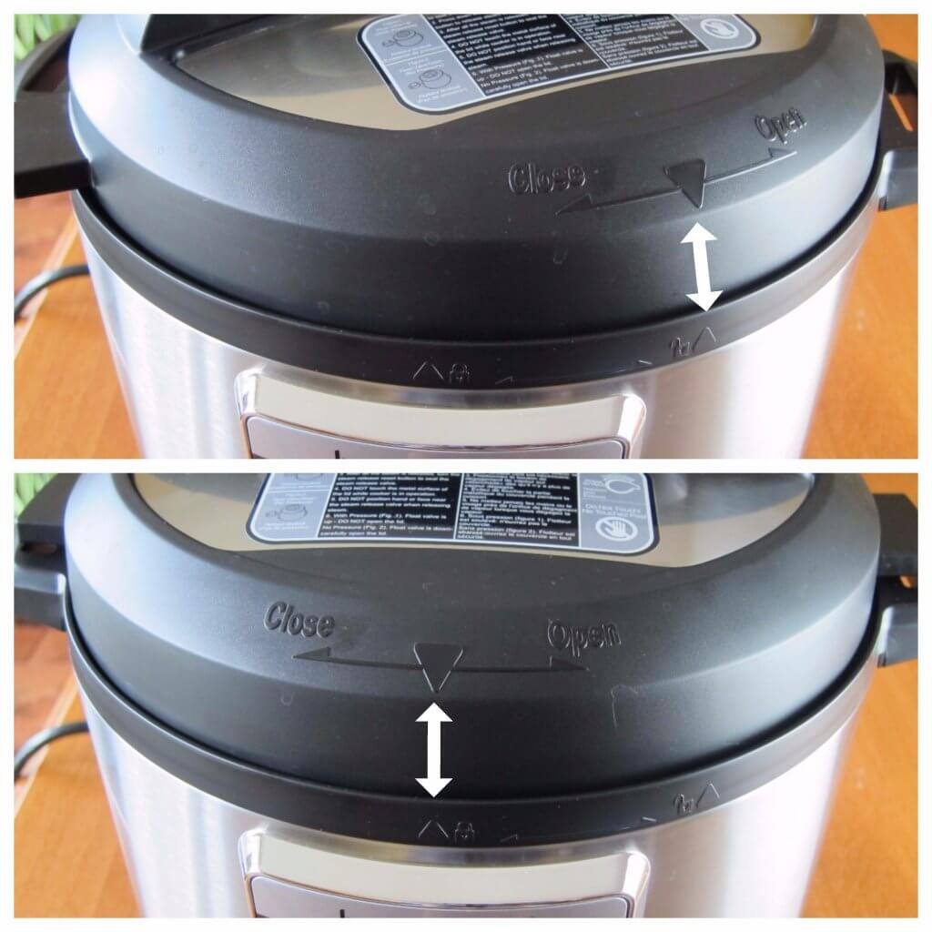 Instant Pot Ultra Lid Close - arrows pointing to triangles on the lid and base unit