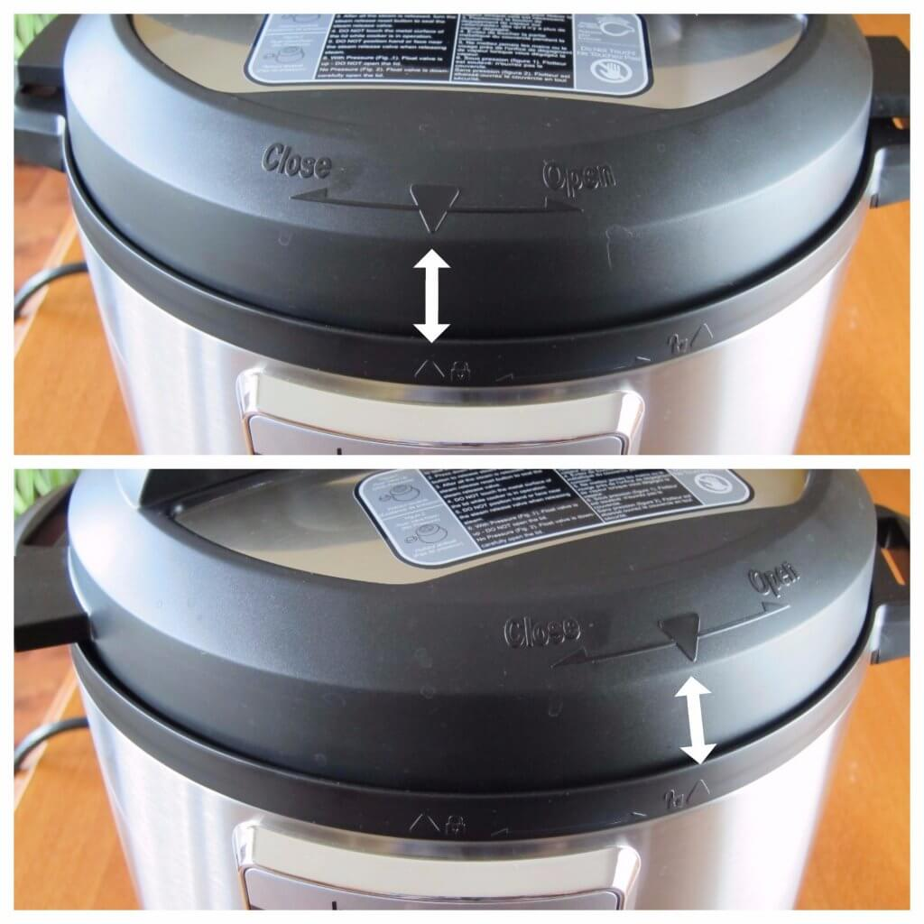 Instant Pot Ultra Open  - arrows pointing to triangles on the lid and base unit