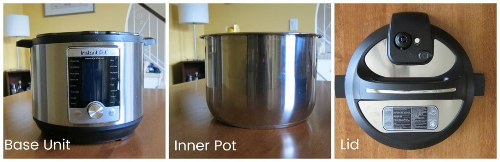 Instant Pot Ultra Parts collage- base unit, inner pot, lid