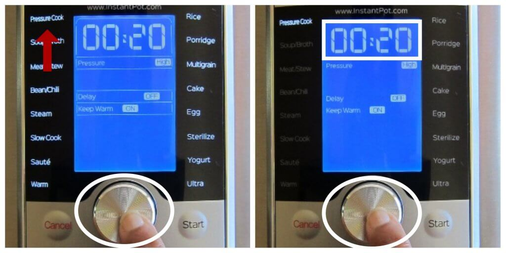 Instant Pot Ultra Select Pressure and Time