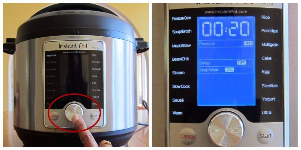 Turn on Instant Pot Ultra Display