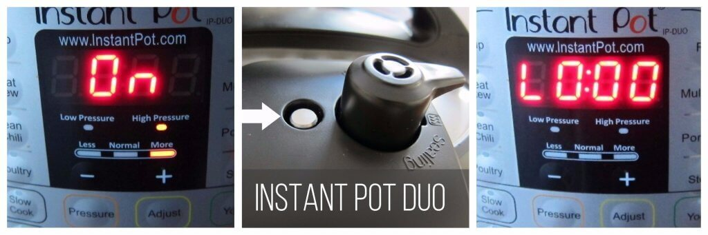 Instant Pot Duo Pressure Cooking collage - display shows on, float valve up, display shows L0:00 - Paint the Kitchen Red