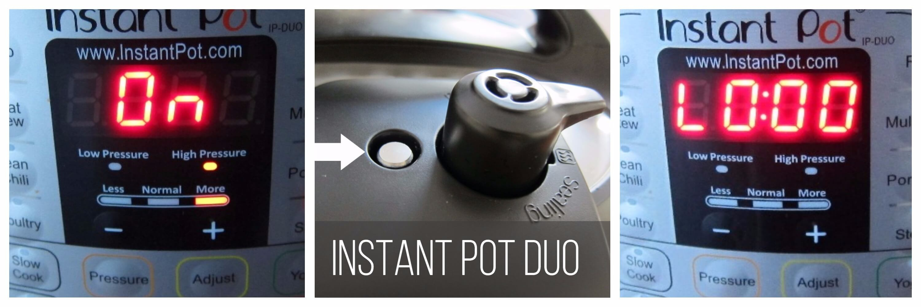 Instant Pot Duo Pressure Cooking collage - display shows On, float valve is down, display shows L0:00 - Paint the Kitchen Red