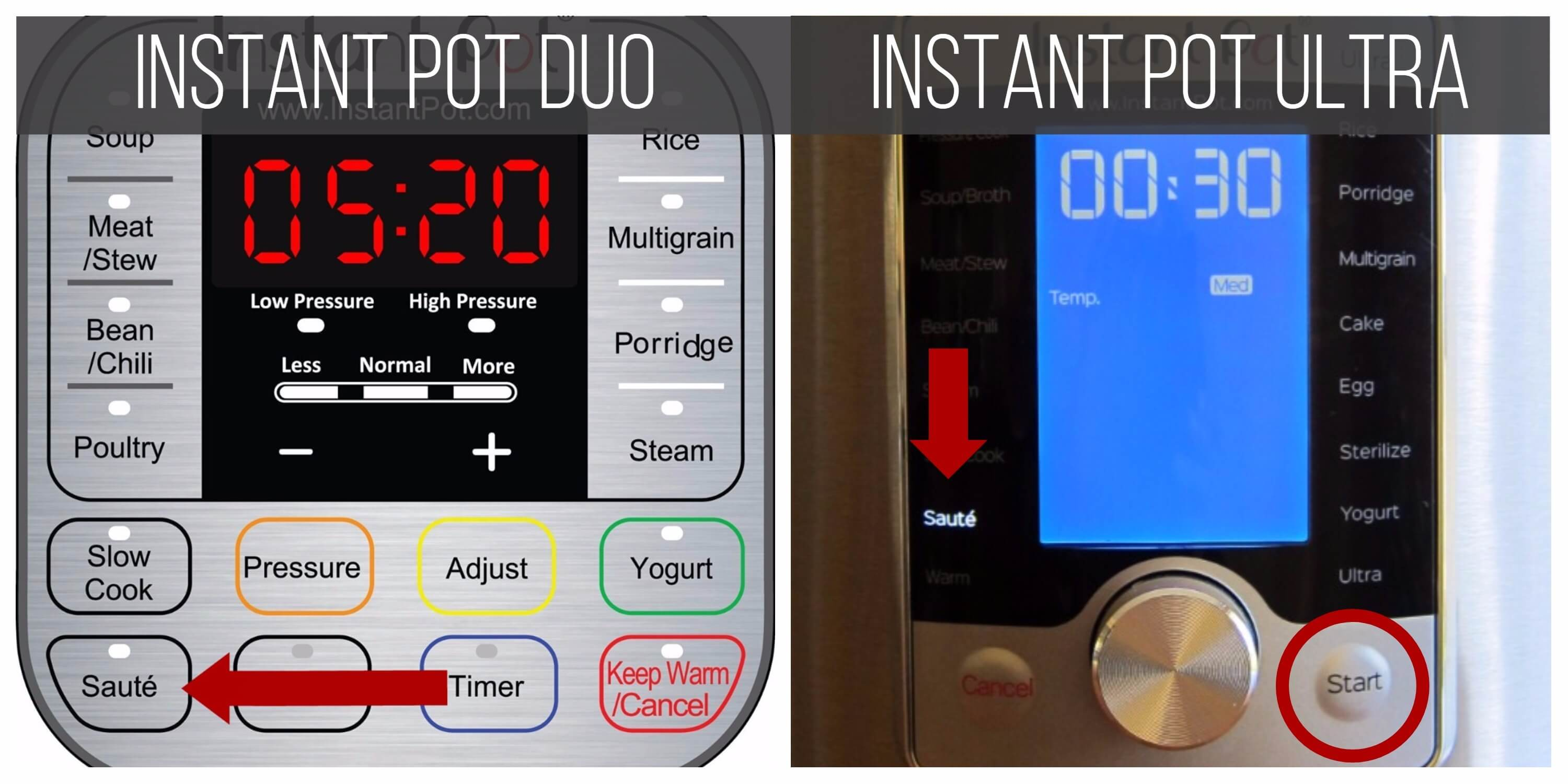 Instant Pot Ultra Duo Saute Function collage - arrows pointing to Saute in Duo and Ultra - Paint the Kitchen Red