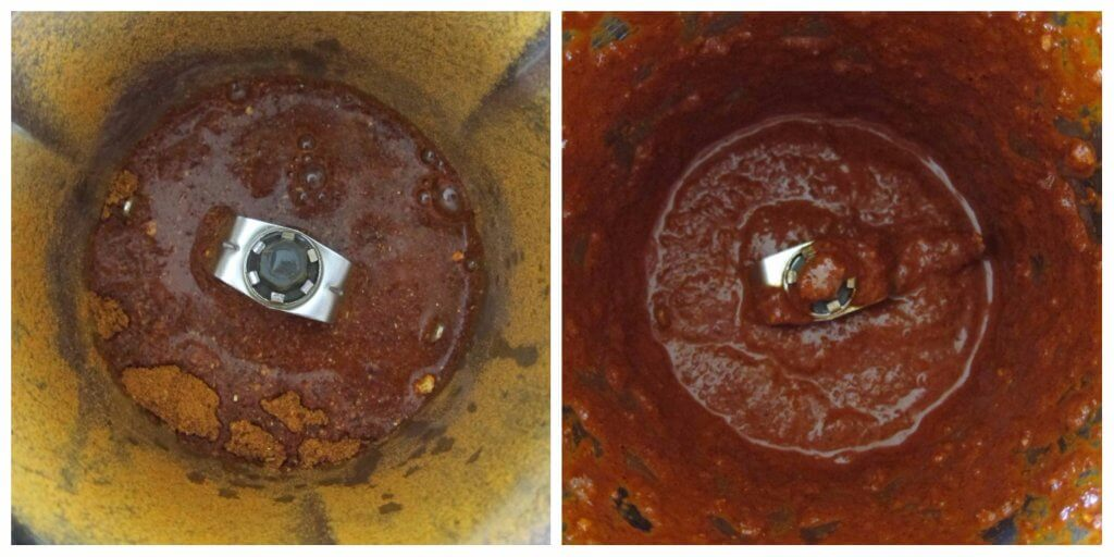 Instant Pot Vindaloo Instructions collage - ground spices and liquid before and after blending - Paint the Kitchen Red