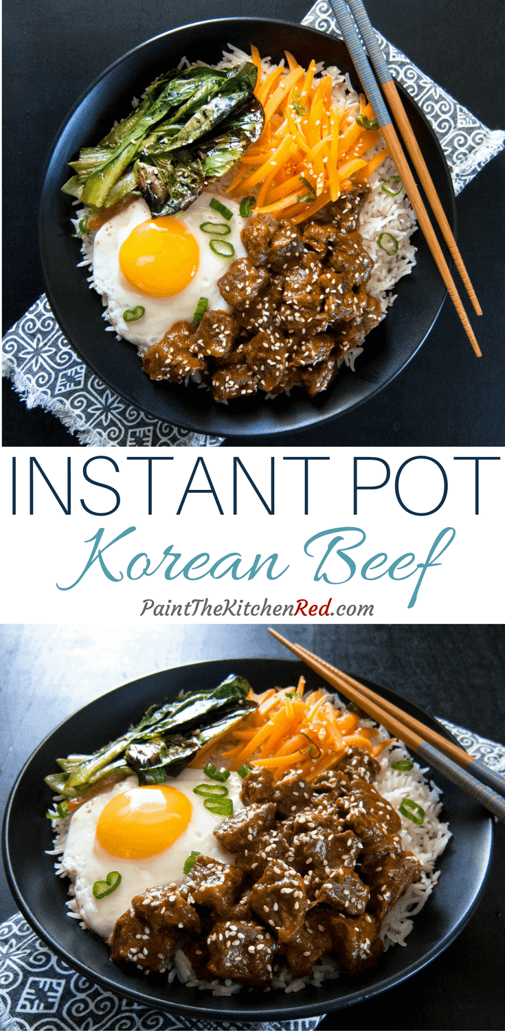 This streamlined recipe for Instant Pot Korean Beef / Instant Pot Bulgogi makes for a quick weeknight dinner that tastes great in bibimbap - on a bed of rice, accompanied by sauteed vegetables, pickled carrots, Kimchi, and a fried egg on top.#instantpot #korean #bulgogi