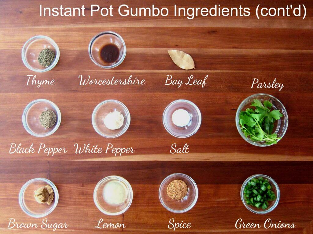 Instant Pot Gumbo Ingredients continued - thyme, worcestershire, bay leaf, black pepper, white pepper, salt, parsley, brown sugar, lemon, spice, green onions - Paint the Kitchen Red