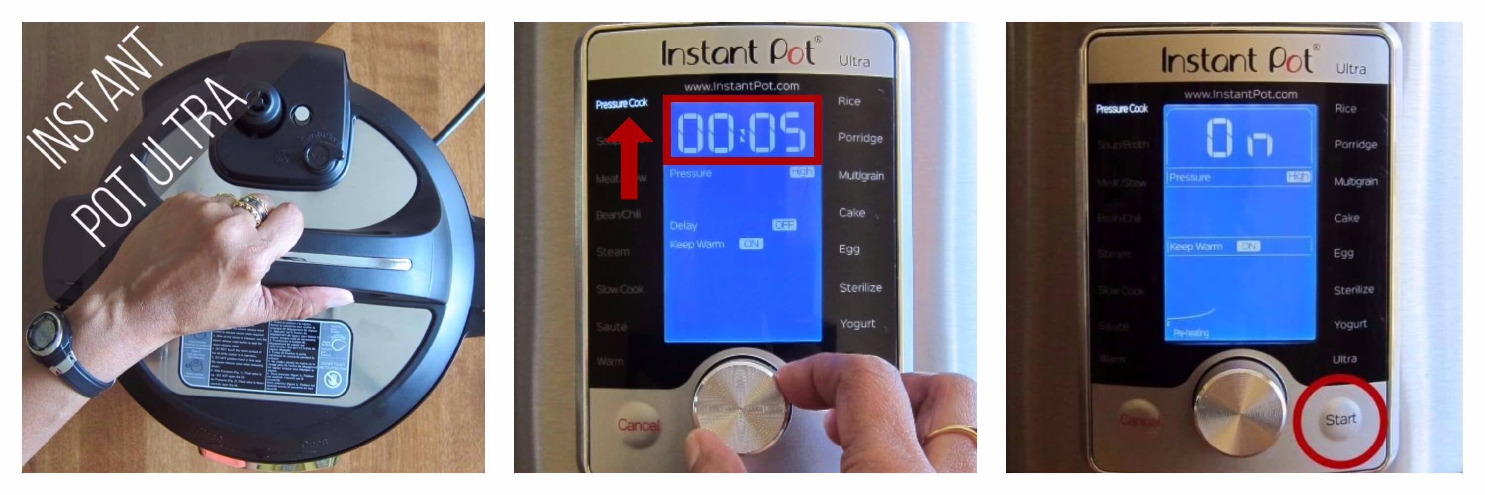 Instant Pot Ultra pressure cook 5 minutes collage - close Instant Pot Ultra, set time to 00:05 and select Pressure Cook, press start - Paint the Kitchen Red