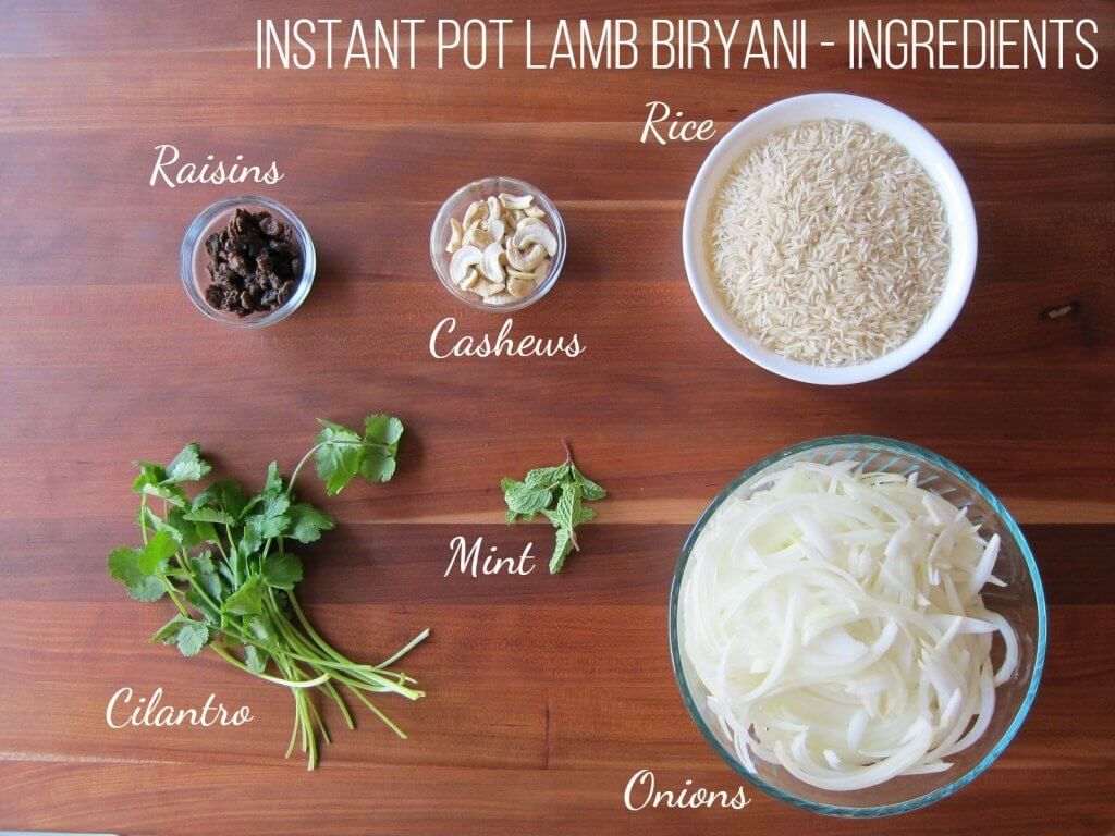 Instant Pot Biryani with Lamb Ingredients 2 - Paint the Kitchen Red