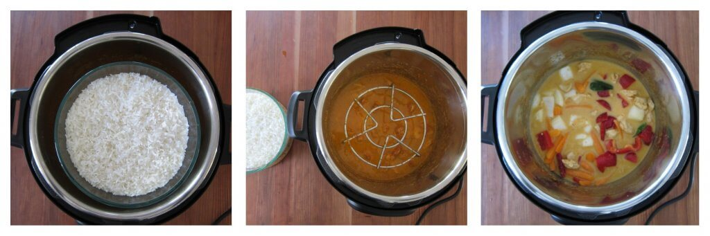 Instant Pot Pot in Pot Cooking Thai Red Curry with Rice collage - rice pip cooked, remove rice and see metal rack, add vegetables to curry - Paint the Kitchen Red