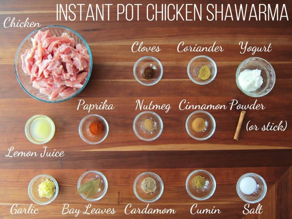 Instant Pot Chicken Shawarma Ingredients - Chicken, cloves, coriander, yogurt, lemon juice, paprika, nutmeg, cinnamon powder or stick, garlic, bay leaves, cardamom, cumin, salt