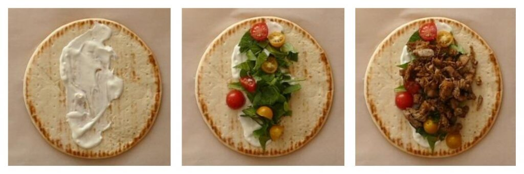 Instant Pot Chicken Shawarma Instructions 4 collage assemble - pita with white sauce, with lettuce and red and yellow grape tomatoes, with chicken - Paint the Kitchen Red