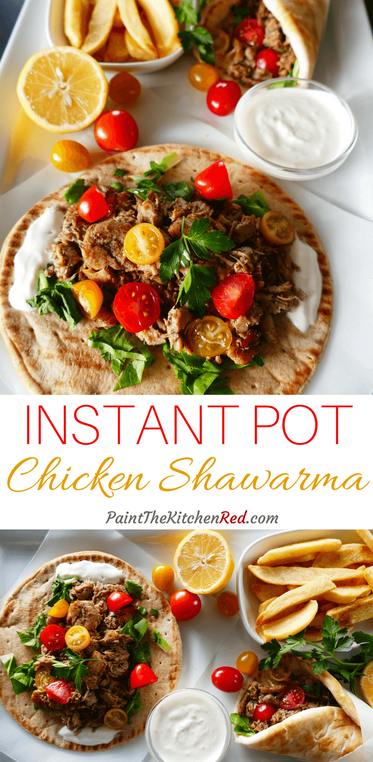 Instant Pot Chicken Shawarma is a quick and easy way to replicate the delicious flavors of the Middle Eastern fast food dish that's closely related to the Greek gyro and Turkish doner kebab. This simplified pressure cooker version of shawarma requires very little hands-on time and delivers a delicious punch of bold flavor. Serve with hummus, garlic sauce, tahini sauce or hot sauce, and pickled baby cucumbers, lettuce, tomatoes, french fries. #instantpot #shawarma #chicken