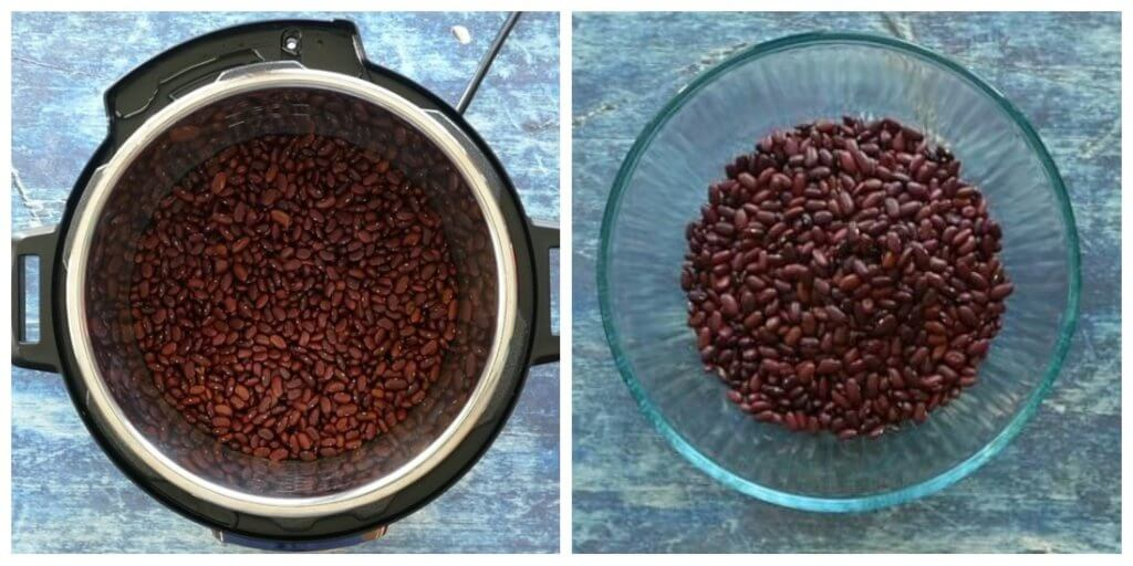 Instant Pot Quick Soak Dried Beans collage - Cooked red beans and drained into a bowl- Paint the Kitchen Red