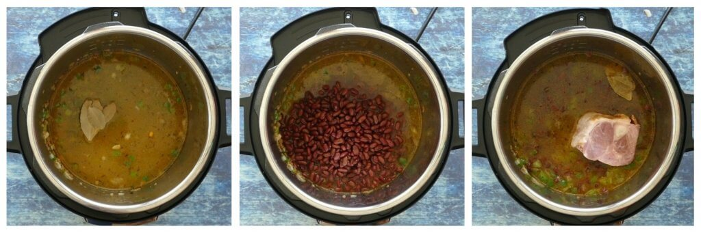 Instant Pot Red Beans and Rice Instructions collage - add broth bay leaves beans and ham hock - Paint the Kitchen Red