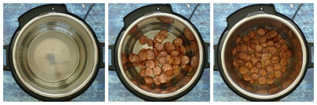 Instant Pot Red Beans and Rice Instructions collage - saute sausage - Paint the Kitchen Red