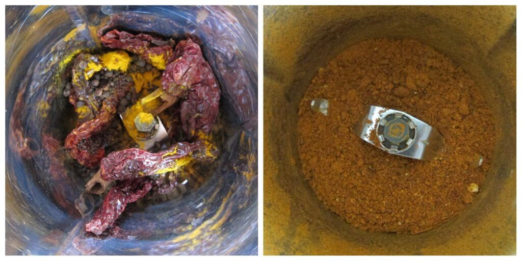 Instant Pot Vindaloo Instructions 1 collage - spices whole and powdered - Paint the Kitchen Red