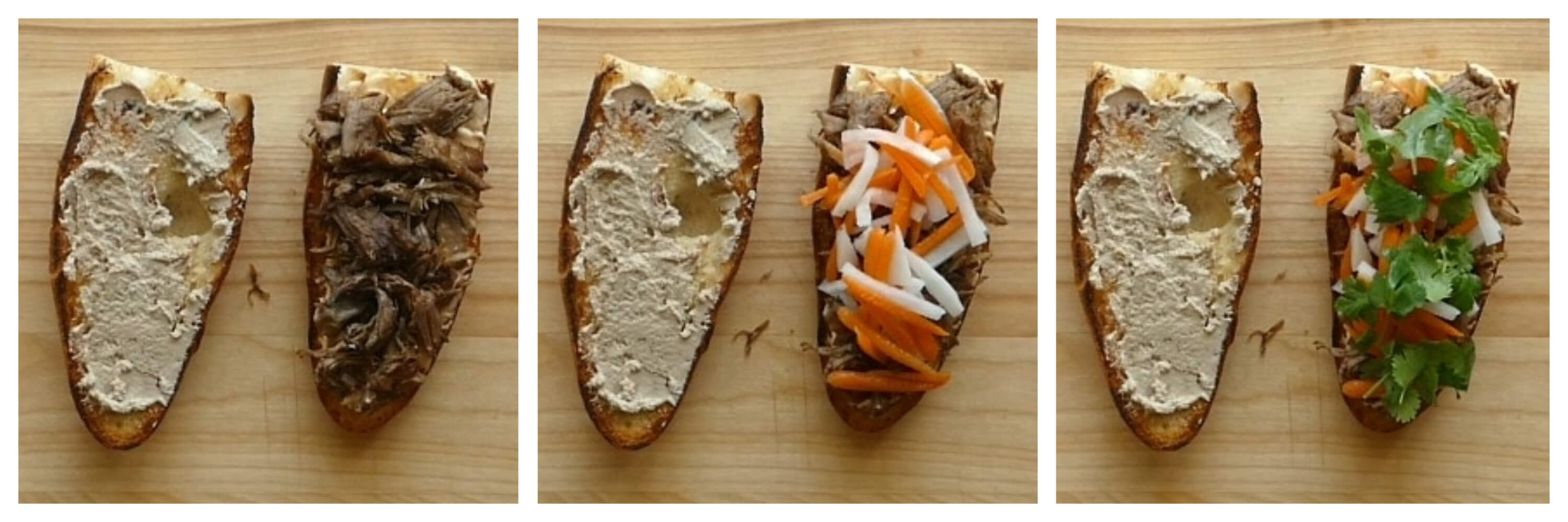 Instant Pot Banh Mi Instructions 4 collage - spread pate on second side, layer with meat, carrots and daikon, cilantro - Paint the Kitchen Red