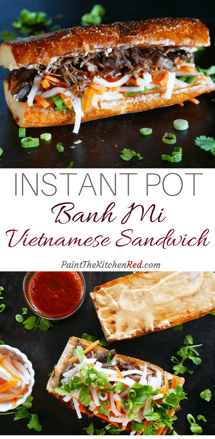 Instant Pot Banh Mi is a Vietnamese Pork Sandwich that has an explosion of flavors. This Asian sandwich is assembled on toasted French bread or baguette with pork, pickled vegetables, and fresh herbs. Bring the flavors of your favorite banh mi food truck or takeout to your kitchen with this easy recipe.  #instantpot #banhmi #vietnamese #sandwich #asian #pork