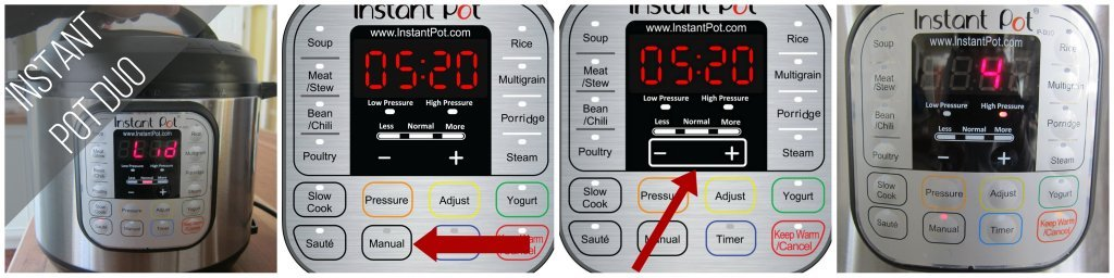 Instant Pot Duo Manual mode 4 minutes collage - close lid, press manual, press + -, display says 4 - Paint the Kitchen Red