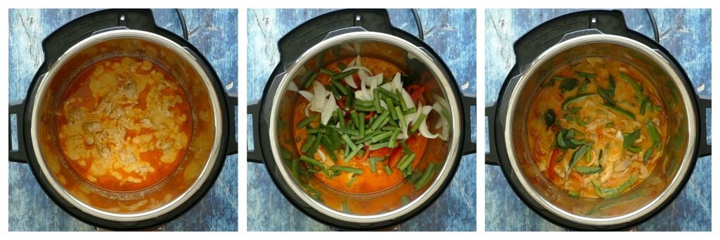 Instant Pot Panang Curry with Chicken Instructions 3 collage - cooked curry, added vegetables and seasonings, stirred up with basil leaves on top - Paint the Kitchen Red