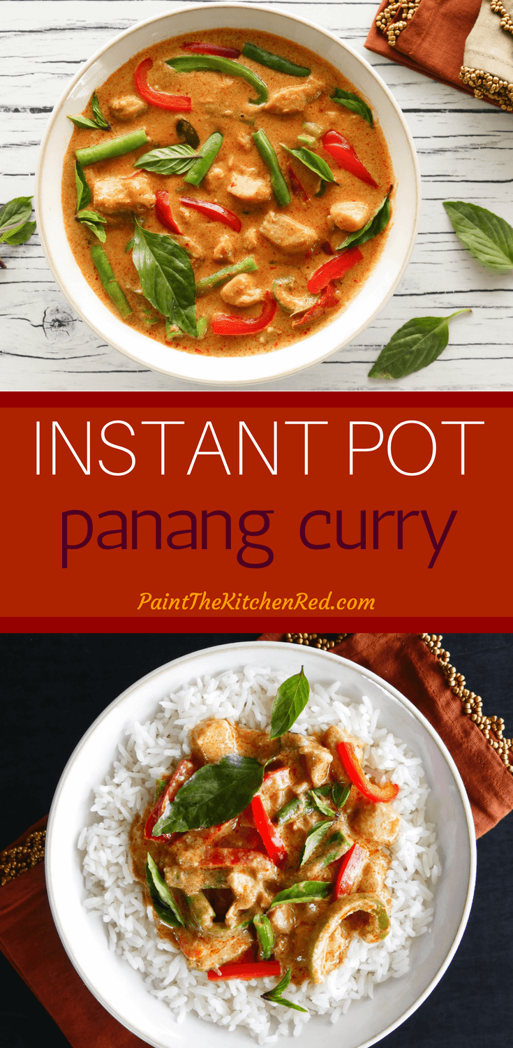 This Instant Pot Thai Panang Curry with Chicken tastes like it's from a Thai restaurant. Creamy coconut milk, Panang curry paste, chicken, vegetables, and spices come together to make a delicious curry that tastes great with jasmine rice. Quick and easy enough to make on a weeknight but impressive enough to serve guests, you're going to love this Instant Pot Panang Curry recipe! #instantpot #thai #curry #chicken #thaifood #asian #coconut #panang