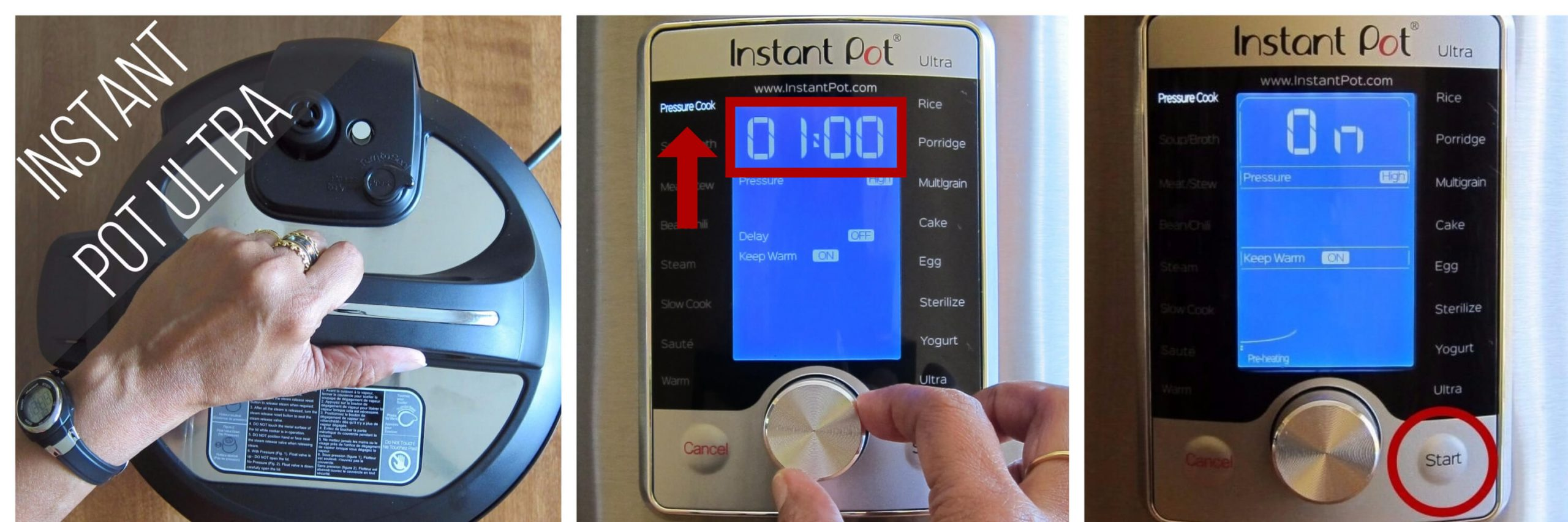Instant Pot Ultra pressure cook 60 minutes collage - open lid, select pressure cook and set time to 1:00, display says on - Paint the Kitchen Red