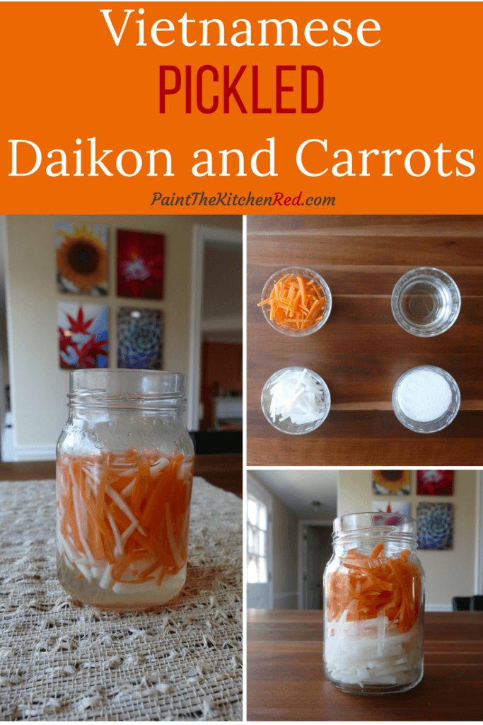 Pickled Daikon and Carrots collage - jar of pickled daikon and carrots, ingredients, jar of daikon and carrots only - Paint the Kitchen Red