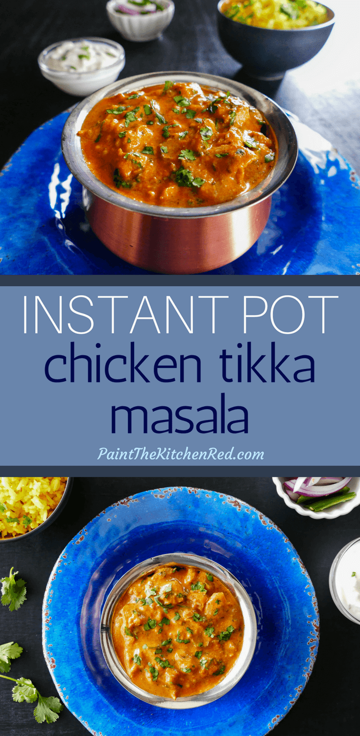 This Easy Instant Pot Chicken Tikka Masala recipe makes a restaurant-quality Indian curry that has succulent pieces of boneless chicken in a flavorful creamy sauce.  Ginger, garlic and Indian spices combine to give the curry a heavenly aroma and taste!  Now there's no reason to go for takeout; make this recipe at home in the Instant Pot in less than 30 minutes, with fresh and healthy ingredients! #instantpot #chickentikkamasala #curry #indian #chickencurry #chicken