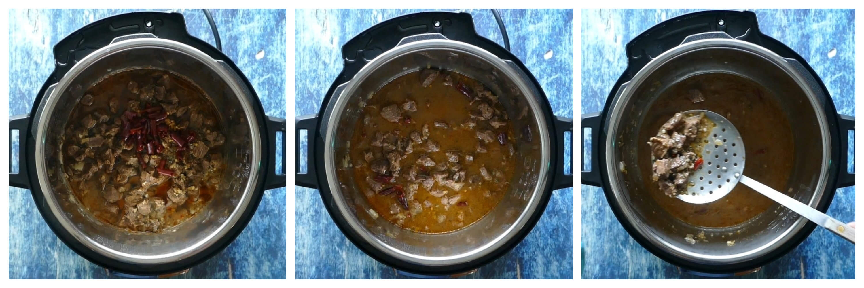 Instant Pot Carne Asada Step by Step Instructions 3 Collage - Cooked meat, stirred, remove with a slotted spoon