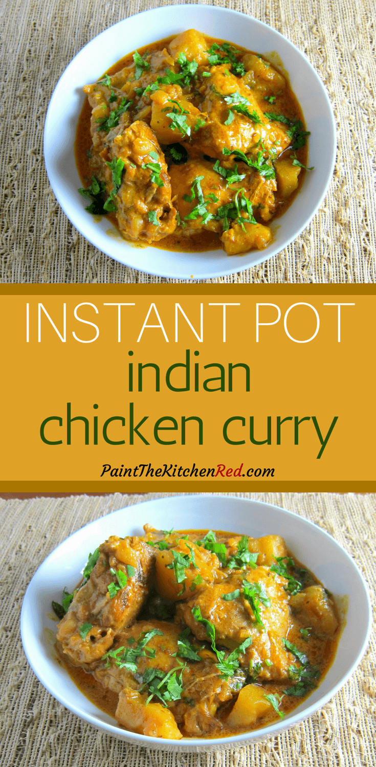 This authentic Indian Instant Pot chicken curry is a delicious family recipe. Made with bone-in chicken, the Instant Pot cooks up tender chicken with lots of flavor. Now you skip the takeout and make this easy and quick chicken curry at home, from scratch. #instantpot #chickencurry #indian #curry