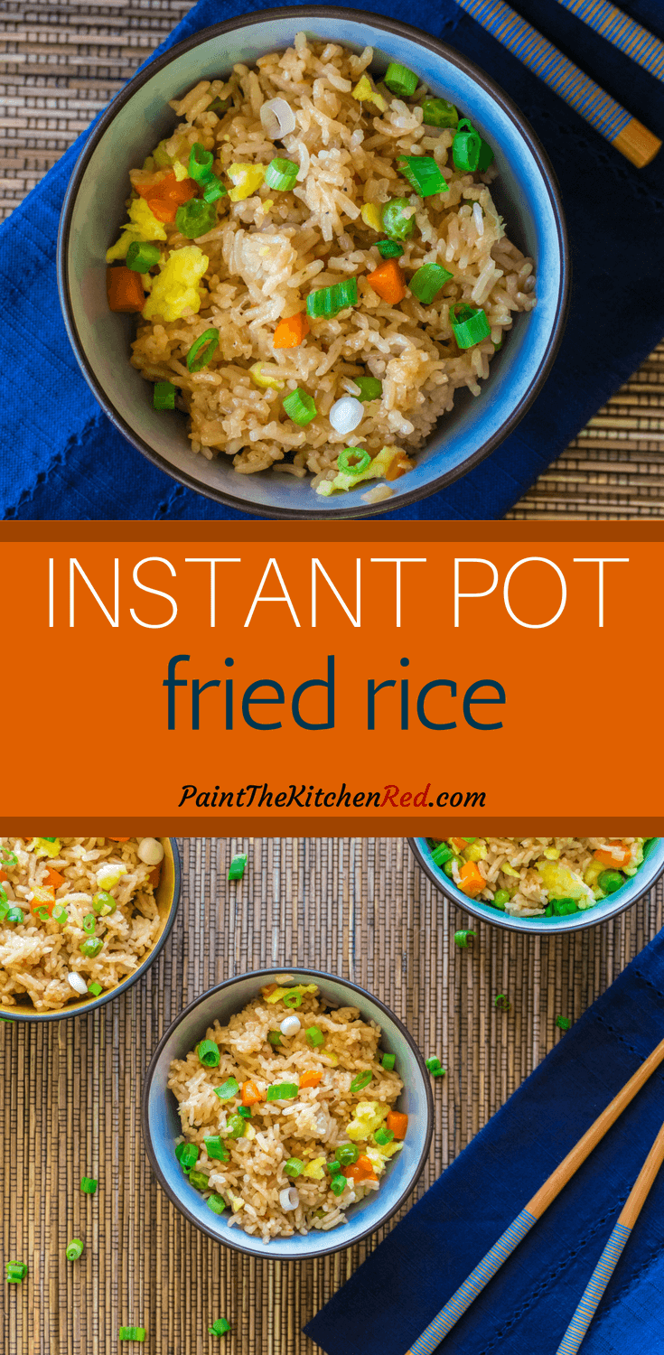 Quick and easy, this Instant Pot Fried Rice recipe calls for frozen vegetables, Jasmine rice, soy sauce, and ingredients you probably have on handand requires minimal prep work. Omit the oyster sauce and eggs to make it vegetarian or add some chicken or shrimp to make it a pressure cooker one-pot meal! #instantpot #friedrice #chinese #rice #asian