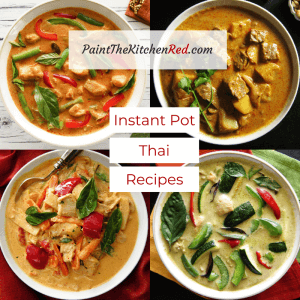 Instant Pot Thai Recipes Category with four Thai curries in white bowls - Paint the Kitchen Red