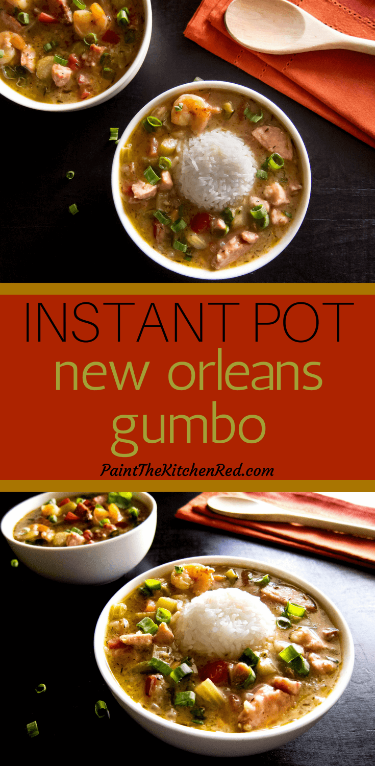 This Delicious Instant Pot Louisiana Gumbo is a quintessential New Orleans dish that is hearty, satisfying, flavorful and perfect for a crowd. Made with chicken, sausage, shrimp/seafood, and okra, this spicy pressure cooker recipe tastes amazing when served over rice.  For a low carb meal, serve as a soup or stew. #instantpot #gumbo #cajun #creole
