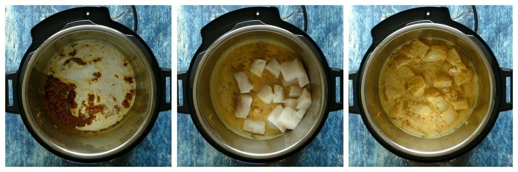 Instant Pot Indian Fish Curry Instructions collage - add coconut milk, add fish, gently stir