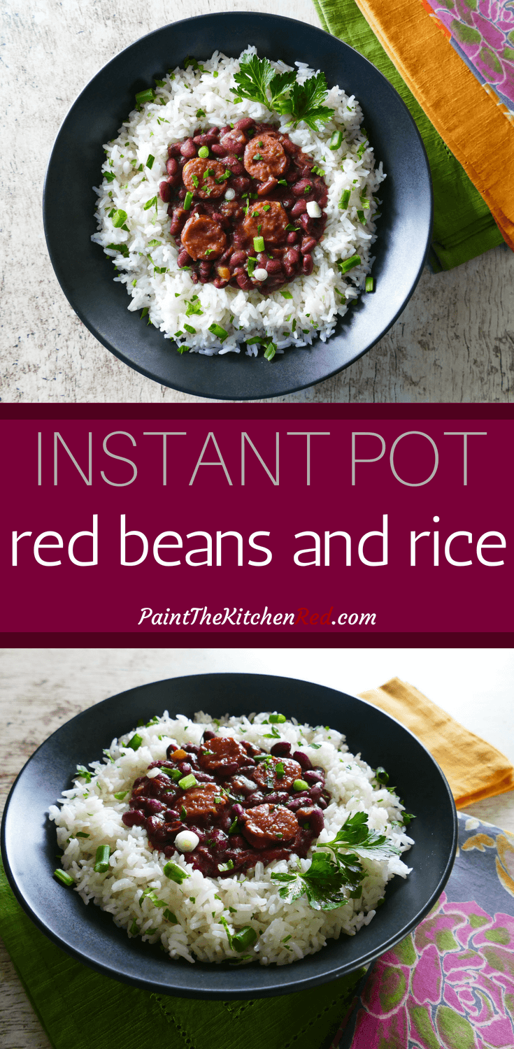 Instant Pot Red Beans and Rice is an authentic New Orleans recipe that's made with andouille sausage and ham hock.  This pressure cooker recipe is simple yet so flavorful! Perfect for feeding a crowd, Instant Pot Red Beans and Rice tastes as though you've simmered it for hours on the stovetop, and is even better the next day.Instructions included for quick soak dried beans. #instantpot #redbeansandrice #cajun #creole #neworleans #mardigras
