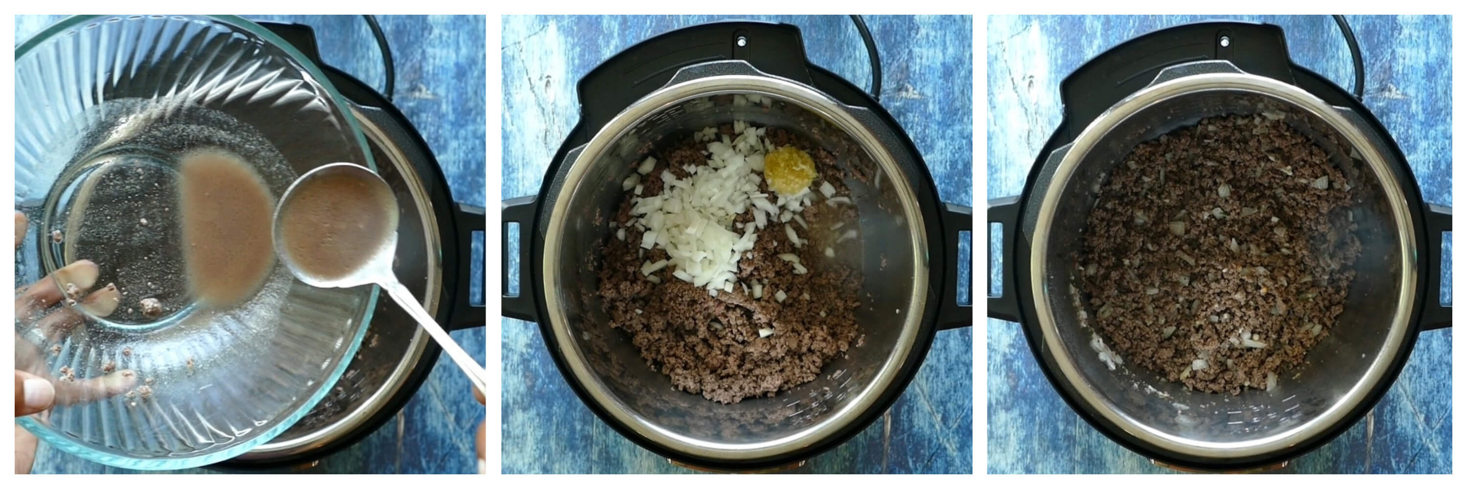 Instant Pot Spaghetti Instructions 2 collage - drain fat, onion and garlic, cooked beef - from Paint the Kitchen Red