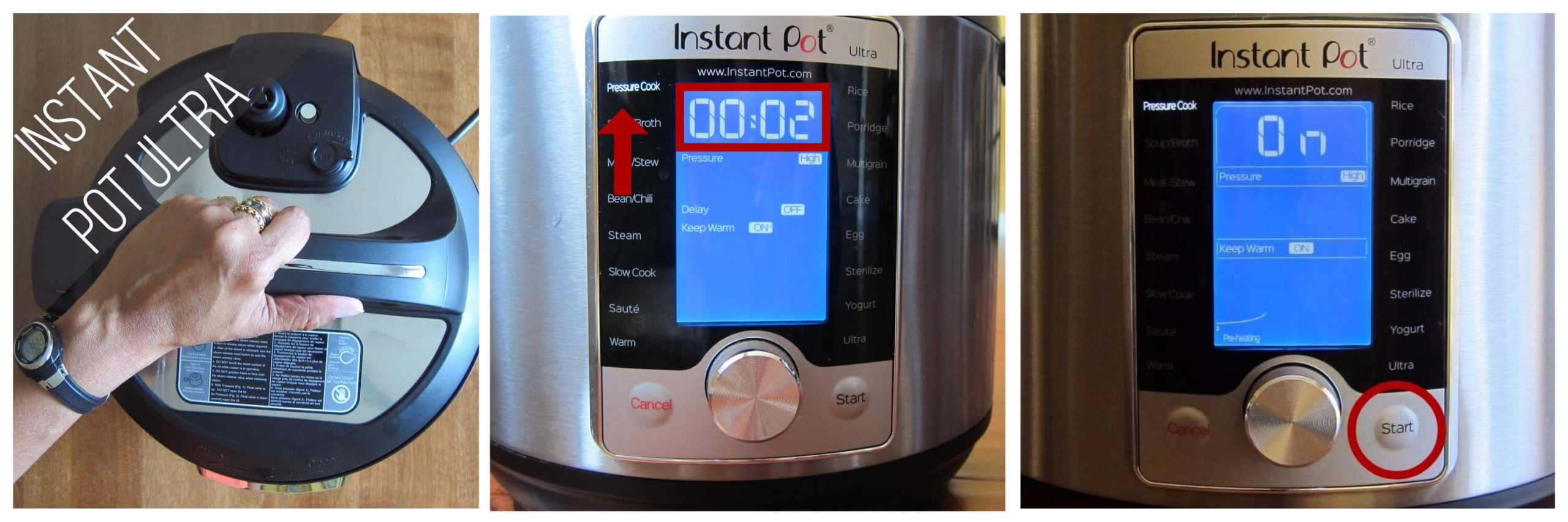 Instant Pot Ultra pressure cook 2 minutes collage - open lid, select pressure cook and set time to 00:02, display says on - Paint the Kitchen Red