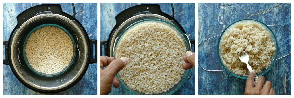 Instant Pot Brown Rice PIP Instructions collage - cooked rice in bowl in Instant Pot, remove trivet and rice, fluff rice - Paint the Kitchen Red
