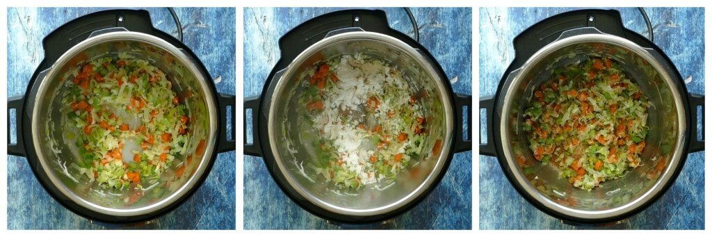 Instant Pot Cream of Chicken Soup Instructions 2 - cooked vegetables, spices and flour, saute - Paint the Kitchen Red