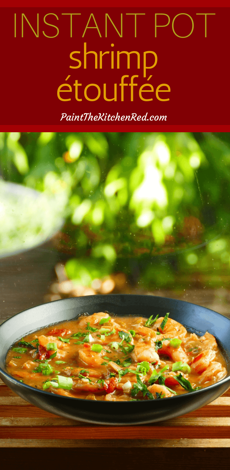 This Instant Pot Shrimp Étouffée is an authentic New Orleans recipe made with Creole spices and plenty of shrimp in a spicy tomato-based sauce. Shrimp can be replaced with crawfish.  This recipe is perfect for Mardi Gras but is so easy that you could make a regular weekday meal extra special.  Perfect for all Cajun and Creole cuisine lovers, the recipe uses a blonde roux.  Serve over rice, grits or pasta. #instantpot #pressurecooker #cajun