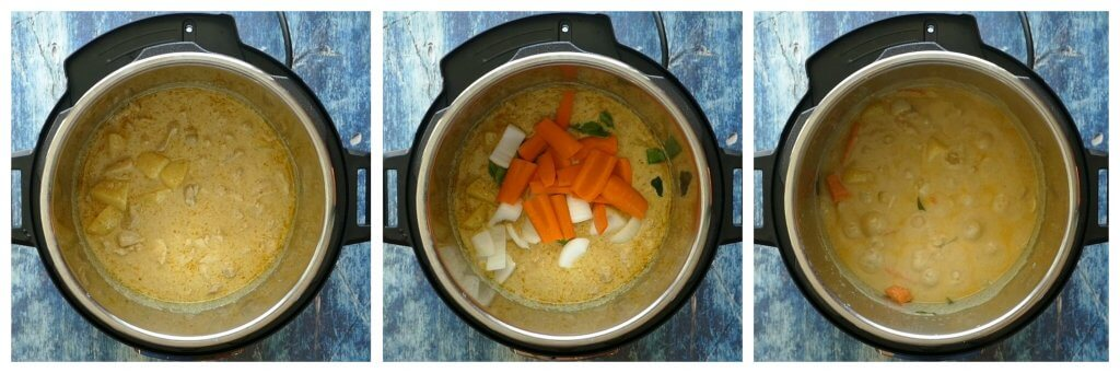 Instant Pot Thai Yellow Curry with Chicken Instructions 4 collage - cooked yellow curry, added carrots and onions, simmer