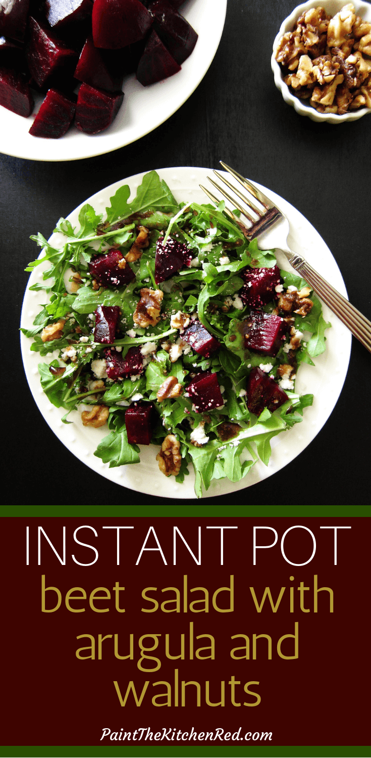 This easy and tasty Instant Pot beet salad with arugula, goat cheese and candied walnuts has a delightful balsamic vinaigrette dressing and is perfect as a side salad or as a standalone lunch salad. #instantpot #saladrecipes