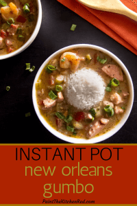 Instant Pot Gumbo Pinterest - two white bowls of gumbo with mound of rice in the middle.