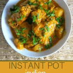 Instant Pot Chicken Curry Pinterest - white bowl with chicken curry garnished with cilantro