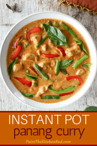 Instant Pot Panang Curry Pinterest pin - panang curry in white bowl with basil garnish - Paint the Kitchen Red